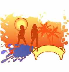 Girls vacation logo vector