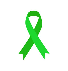 green ribbon mental health icon vector image