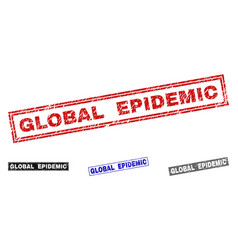 Grunge global epidemic scratched rectangle stamp vector