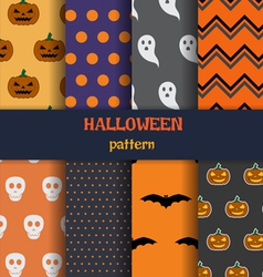 Halloween pattern set vector