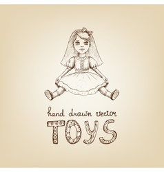 hand-drawn a vintage toy doll vector image