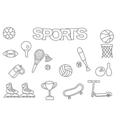 Hand drawn sports set coloring book template vector