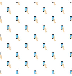 Hand pointing on smartphone pattern vector
