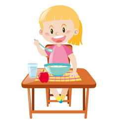 Happy girl having breakfast vector