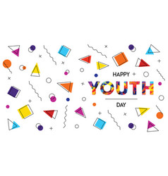 happy youth day abstract retro background banner vector image