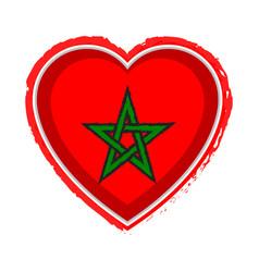 Heart shaped flag of morocco vector