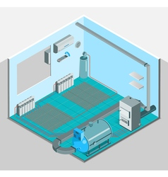 Heating Cooling System Interior Isometric Template vector
