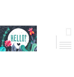 hello greeting card doodle leaves and flowers vector image