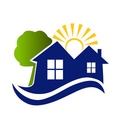 houses sun tree and waves logo vector image