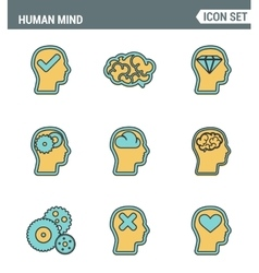 Icons line set premium quality of human mind vector image