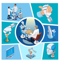 isometric artificial intelligence composition vector image
