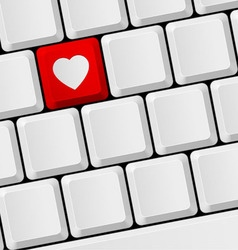 Keyboard with heart button vector