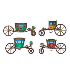 king carriage or princess vintage chariot set vector image