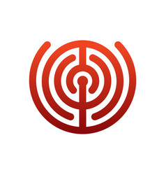labyrinth logo maze emblem for company business vector image