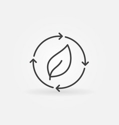 Leaf in arrows icon vector
