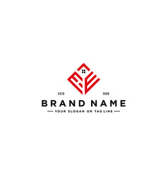 Letter he square with roof house logo design vector