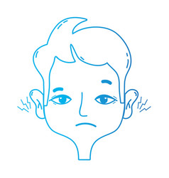 line man with otitis earache illness infection vector image