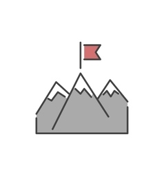 Line mountains with flag icon vector image