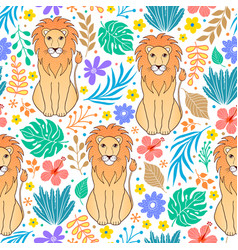 lions and tropical flowers vector image