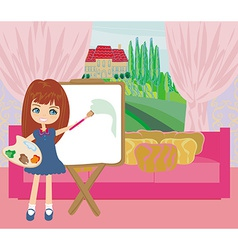 Little artist girl painting landscape from the vector image