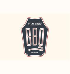 Logo bbq steak house vector