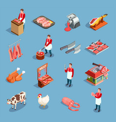 meat market icon set vector image