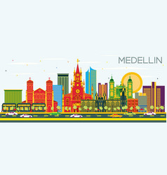 medellin colombia city skyline with color vector image