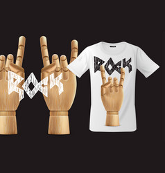 modern t-shirt print design with rock n roll sign vector image