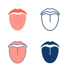 Mouth and tongue icon set in flat and line style vector