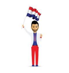 netherlands flag waving man vector image