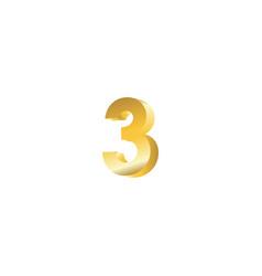 Number 3 3d template design vector