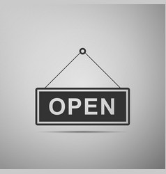open door sign flat icon on grey background vector image