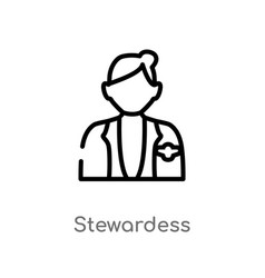 Outline stewardess icon isolated black simple vector