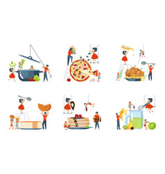 Oversize dish and mini people characters set vector