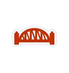 Paper sticker australian bridge on white vector