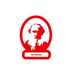 Paper sticker on white background Lev Tolstoy vector
