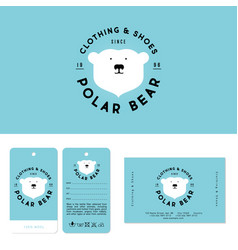 Polar bear logo clothing shoes label business card vector