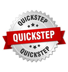Quickstep 3d silver badge with red ribbon vector