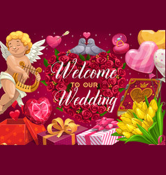 save date party invitation welcome to marriage vector image