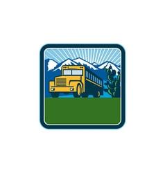 School bus cactus mountains square retro vector