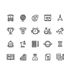 school line icons geometry geography physics vector image