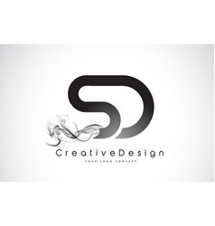 Sd letter logo design with black smoke vector