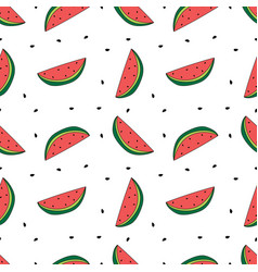 seamless pattern watermelon slices with seeds vector image