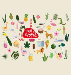 Set cute trendy hello summer icons food drinks vector