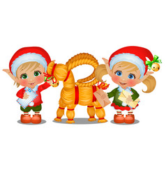 set of girl and boy santas helpers with straw vector image