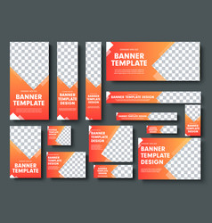 Set of orange yellow web banners with place for vector