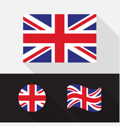 set united kingdom flag flat design vector image