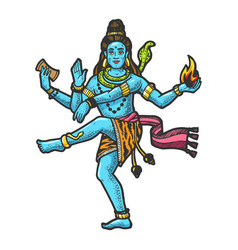 shiva indian god engraving vector image