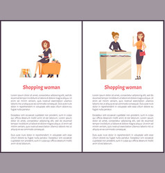 Shopping woman female shopaholic shoes and jewelry vector