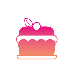 silhouette delicious cake sweet dessert food vector image